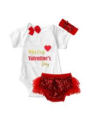 Valentine My 1st Valentine Print Onesie & Tutu Set, White/Red