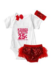 Kisses 25c Valentine Print Onesie & Tutu Set, White/Red