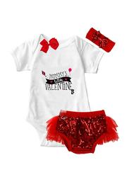 Valentine Mommy's Little Valentine Onesie & Tutu Set, White/Red