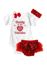 Valentine Daddy Is My 1st Valentine Print Onesie & Tutu Set, White/Red