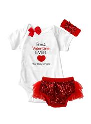 Valentine Best Valentine Ever Print Onesie & Tutu Set, White/Red