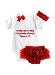 Valentine Cupid Valentine Print Onesie & Tutu Set, White/Red