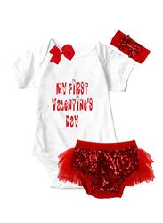 Valentine My First Valentine Print Onesie & Tutu Set, White/Red