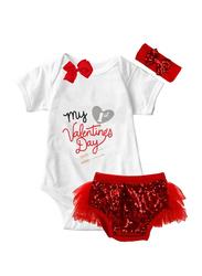 Valentine My 1st Valentine's Day Print Onesie & Tutu Set, White/Red