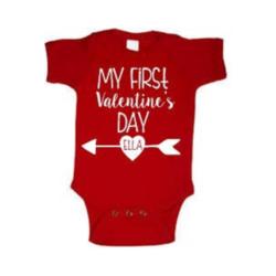 Valentine My First Valentine's Day Print Onesie, Red