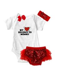 Valentine My Heart Belongs To Mommy Onesie & Tutu Set, White/Red