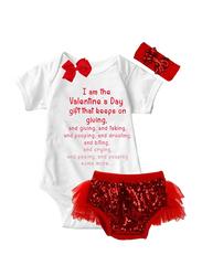 Valentine Gift Onesie & Tutu Set, White/Red