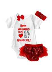 Valentine Happy Valentine Day Print Onesie & Tutu Set, White/Red