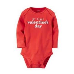 Valentine My 1st Valentine Print Onesie, Red