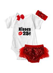 Valentine Kisses 25c Print Onesie & Tutu Set, White/Red