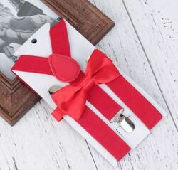 Holiday Fashion Bow Tie & Suspender, Red