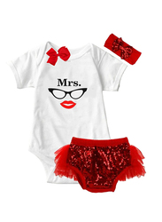 Valentine Mrs Valentine Print Onesie & Tutu Set, White/Red