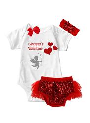 Valentine Mommy's Valentine Print Onesie & Tutu Set, White/Red