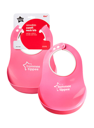 Tommee Tippee Essentials Comfi Neck Catch Bib for Girl, Pink
