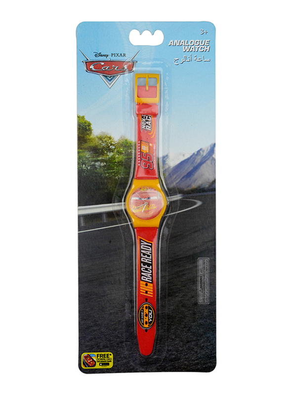 Disney Cars Analog Watch for Boys, 3+ Years, One Size, Red/Yellow