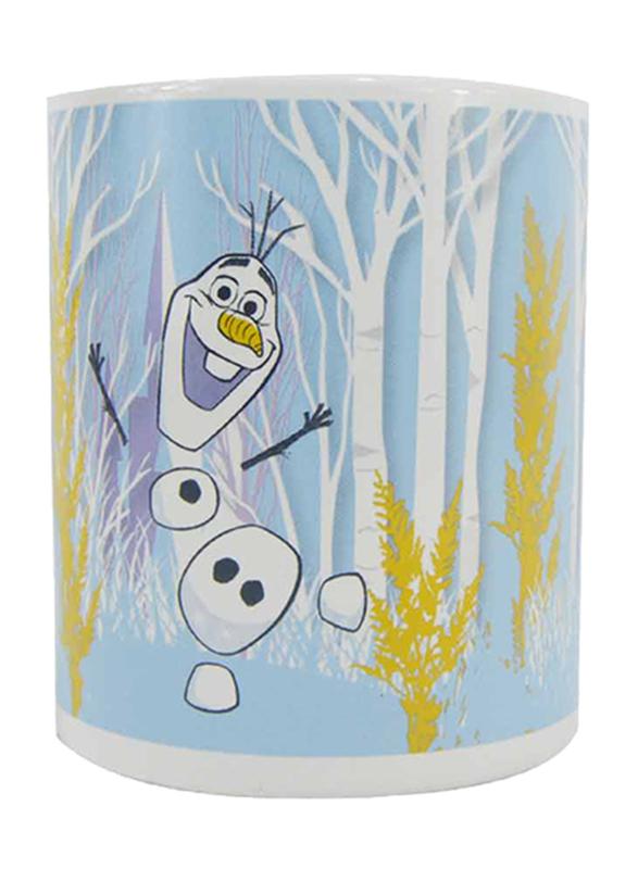 Disney Frozen II Movie Can Shape Ceramic Mug for Girls, 300ml, White/Yellow/Blue/Purple