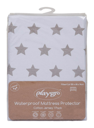 Playgro Home Fitted Cot Cotton Jersey Mattress Protector, Grey Stars