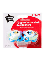 Tommee Tippee Essentials Glow In The Dark soother and Cherry Soother for Boy, Fox, 2-Pieces, Blue