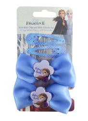 Disney Frozen II Hair Clips and Elastics Set for Girls, 4-Pieces, Blue