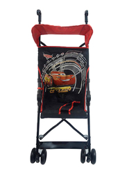 Disney Cars Basic One Position Buggy Comfort Height Umbrella Baby Stroller, Black/Red