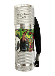Marvel Avengers Portable LED Torch Flashlight, with Wrist Strap, Silver