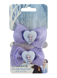 Disney Frozen II Hair Elastics Bands Set for Girls with Glitter, 2-Pieces, White/Purple