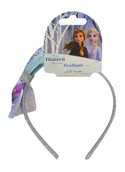 Disney Frozen II Headband for Girls with Printed Bow Accent, Silver/Blue