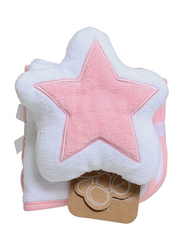 Playgro Home Star Mitt and Face Washer Towel for Kids, Pink/White