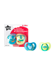 Tommee Tippee Essentials Decorated Latex Cherry Soothers for Boy, 2-Pieces, Green Blue