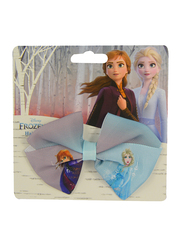 Disney Frozen II Hair Bow for Girls, with Full Printed, Blue/Pink