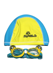 Universal 2-Piece Minions Swim Cap & Goggle Set for Boys, Silicone, Free size, Yellow