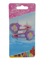 Disney Princess Hair Clips Set for Girls, 2-Pieces, Red/Purple