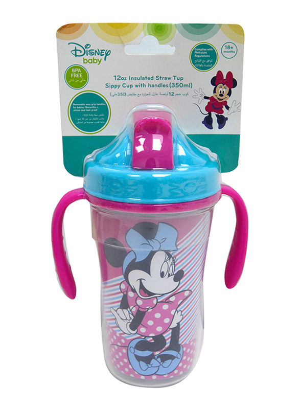 Disney Spill Proof Insulated Straw Cup, 12 Months+, 360ml, Minnie Mouse, Pink/Blue
