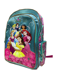 Disney Princess Flowers and Diamond 18-Inch Backpack for Girls, Blue