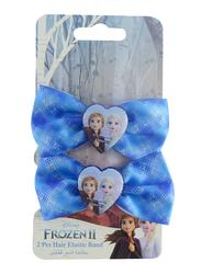 Disney Frozen II Hair Elastics Bands Set for Girls, 2-Pieces, Purple/Blue