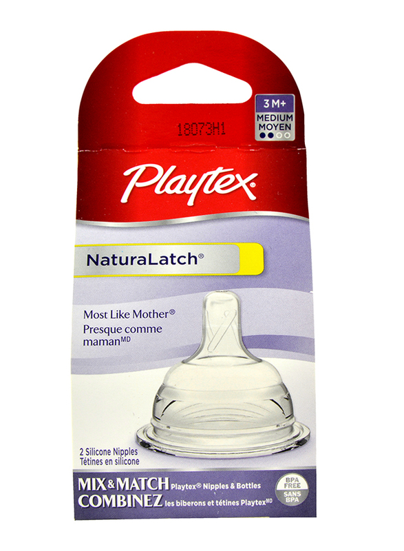 Playtex NaturaLatch Medium Flow Nipple, 2 Pieces, Clear