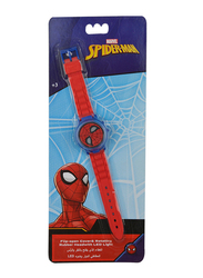 Marvel Spiderman Rotating Flip-Top Digital Watch for Boys, with 3D Rubber Character and Pressing Flashing Light, 3+ Years, Plastic, One Size, Red