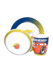Disney Cars Ceramic Dinnerware Breakfast Set for Boys, 3 Pieces, Multicolor