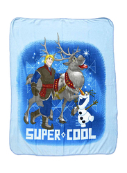 Disney Frozen Super Cool Coral All Seasons Fleece Blanket, 120 x 140cm, Blue