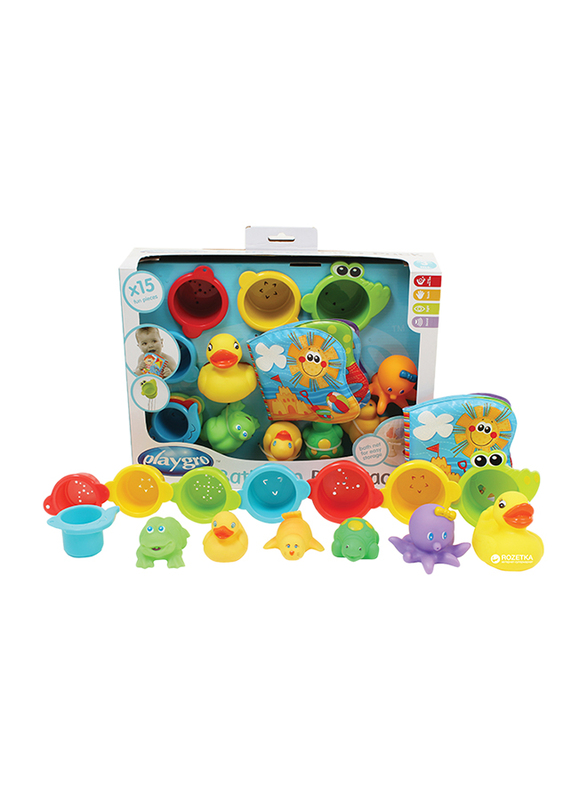 Playgro Bath Fun Gift Pack for Kids, Blue/Red/Yellow/Green/Purple
