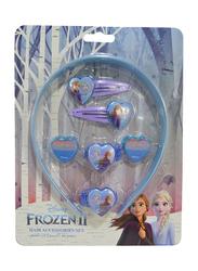 Disney Frozen II Headbands + Hair Clips + Elastics Set for Girls, 9-Pieces, Aqua/Blue/Purple
