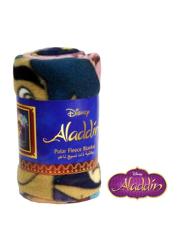 Disney Aladdin Polar Fleece Lightweight Warm Blanket, 100 x 150cm, Navy Blue