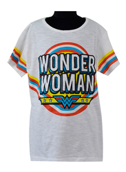 Warner Bros DC Wonder Woman Comics Short Sleeve Top for Senior Girls, 13-14 Years, White/Blue