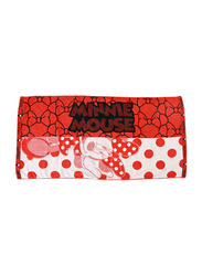 Disney Minnie Mouse Cotton Hand Towel for Girls, 34 x 80cm, Red