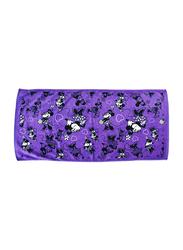 Disney Minnie Mouse Cotton Jacquard Towel for Girls, 60 x 120cm, Purple