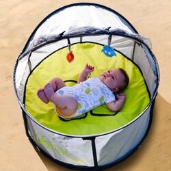 BBLuv Nindo Mini 2 in 1 Travel Bed & Play Tent, Green/Black