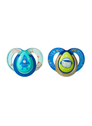Tommee Tippee Closer to Nature Night Time Soother Unisex, 6-18 Month, Rocket Ship Boy, 2-Pieces, Blue