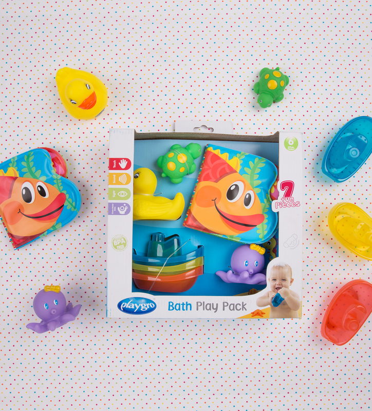 Playgro Bath Play Gift Pack for Kids, Blue/Yellow/Green/Purple/Orange