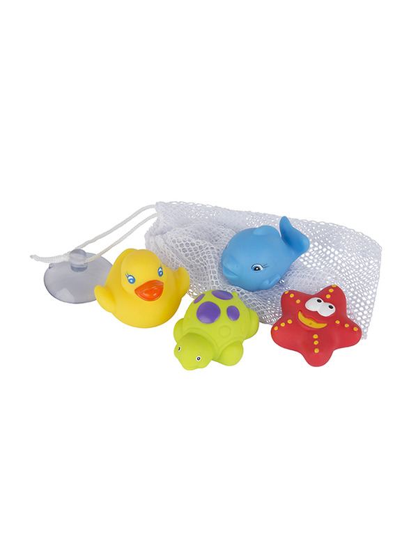 Playgro Bath Squirtees and Storage Set for Kids, Blue/Yellow/Green/Red