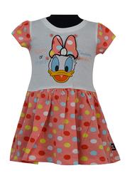 Disney Daisy Short Sleeve Dress for Junior Girls, 2-3 Years, Orange/White